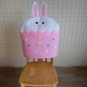 4 Stück Stuhlhussen Ostern Hase Stuhlbezug Husse Bezug Überzug Protectoren Cover Frühlingsdeko