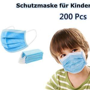 200x Mundschutz 3 lagig Kinder Einweg Atemschutz Maske Hygieneschutz Maske (Blau )