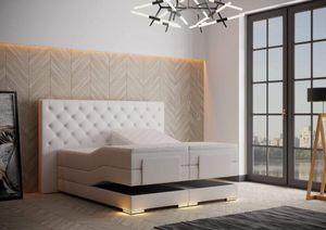 Mailand Chesterfield Boxspringbett elektrisch Weiß Kunstleder - 100 x 200 cm