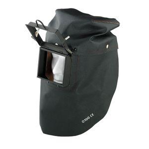 SAHARA Schweißer Lederhaube hinten offen oder geschlossen mit Metallrahmen Schweiß Ledermaske Ausführung:offen