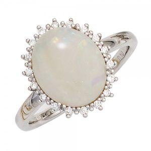 JOBO Damen Ring 585 Gold Weißgold 1 Opal  18 Diamanten Brillanten 0,10ct. Goldring Größe 54