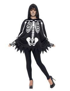 Uni Kostüm Skelett Poncho Handschuhe Halloween
