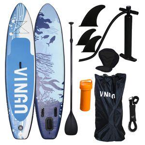 Hengda 305cm Aufblasbares SUP Stand-up Paddel Board 15cm Dickes, ISUP Paddle Board mit Doppelhub-Pumpe verstellbares Paddle Bis 110 kg Tragkraft