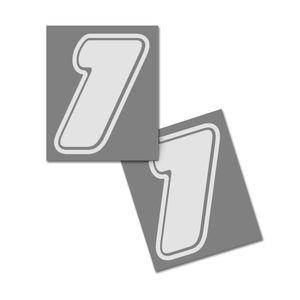 Startnummer Aufkleber 2er Set, Schrift Assen, # 1 weiß