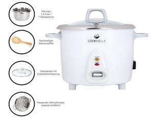 KeMar Kitchenware Cookinella KRC-200 Reiskocher Edelstahltopf   Kompakt (1,4L, 500W, Weiß)   Glasdeckel   BPA-frei   Bambuslöffel   Edelstahl Innentopf
