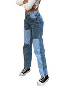ydance Damen Mode Jeans Enge Gerade Hose Taschen Reißverschluss Lange Freizeithose,Farbe:Blau,Größe:S