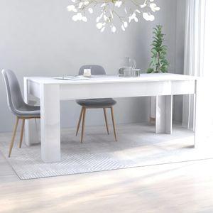 dereoir Esstisch Hochglanz-Weiß 180 x 90 x 76 cm Spanplatte