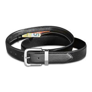 Eaxus®️ Tresorgürtel für Damen & Herren - Geldgürtel mit Reißverschluss und Geheimfach 135 cm Leder, Schwarz