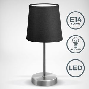 LED Tischleuchte   Stofflampe schwarz, matt-nickel   E14   Tischlampe I Nachttischlampe mit Schalter   IP20