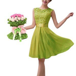 Neue Art und Weise Frauen-Chiffon- Spitze-Kleid Sleeveless O Ansatz Normallack-elegante Prinzessin Party-KleidXXL Abendkleider