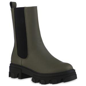 VAN HILL Damen Leicht Gefütterte Plateau Boots Stiefel Profil-Sohle Schuhe 837824, Farbe: Olivgrün, Größe: 39