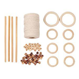 109 Yards 3mm Makramee Schnur Mit Holzperlen Holzring Für Basteln DIY Style2 Holz Zubehör Natürliches Makramee-Kabel