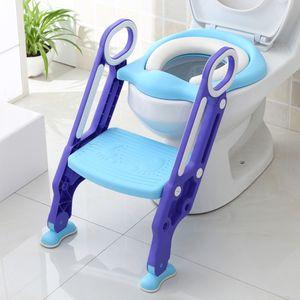 Bthrins Toilettensitz Kinder-Toilettensitz blau-lila Kindertoilette faltbar Toilettentrainer mit Leiter und Griffe mit gepolstert-OV