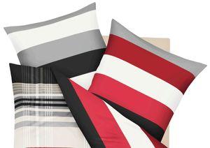 Kaeppel Biber Kissen Bezug Prime Time Rot Schwarz Streifen Weiß , Größe:80x80cm Kopfkissen