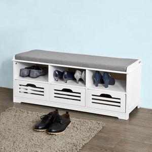 SoBuy® Schuhtruhe, Sitzbank mit 3 Körben und Ablagen,Sitzbank, Sitzkommode mit Sitzkissen, weiß, FSR36-W