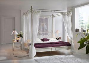 Himmelbett Doppelbett 140 x 200 cm creme/weiß VENEZIA