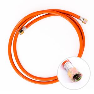 """Gasschlauch 200 cm, 1/4"""" links, Winterfest und flexibel, Orange - ideal für Gasgrills, Heizstrahler, Hockerkocher, Gaskocher, Lampen, uvm."""