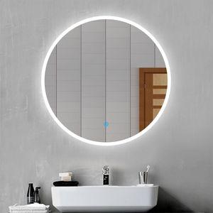 LED Badspiegel Rund 80 cm Durchmesser LED Spiegel Badezimmerspiegel mit Beleuchtung Lichtspiegel Wandspiegel mit Touchschalter Beschlagfrei IP44 energiesparend Kaltweiß