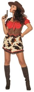 L3202450-42 rot-braun Damen Cowgirlkleid Saloon Lady Gr.42