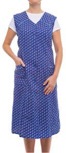 Tobeni Damen Kittelschürze Knopf-Kittel lang in 100% Baumwolle ohne Arm mit Taschen, Farbe:Design 37, Grösse:48
