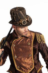 Kostüm Zubehör Hut Steampunk mit Brille Karneval Fasching Verkleiden