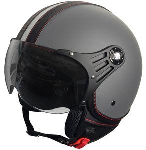 Jethelm P01 Retro Helm Motorradhelm Gr. M Rollerhelm Sturzhelm matt grau Visier klar