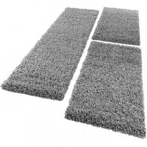 Bettumrandung Läufer Shaggy Hochflor Langflor Teppich in Grau Läuferset 3Tlg., Grösse:2mal 60x100 1mal 70x250
