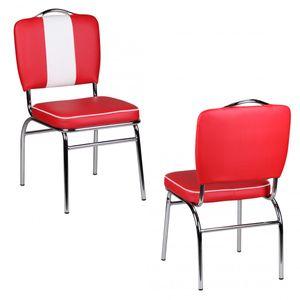 Wohnling Esszimmerstuhl American Diner 50er Jahre Retro Rot Weiß WL1.715