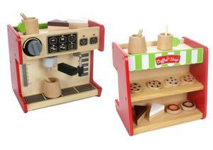 2 in 1 Coffee Shop Kaffee Kuchen Donuts Espressobar Laden Kinder Spielzeug Holz