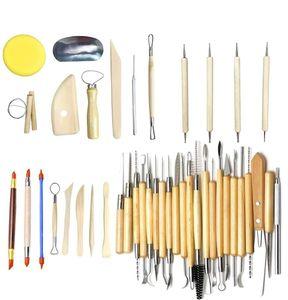 42 Set Töpferwerkzeug Set Modellier Werkzeugen Doppelseitige Ton Keramik Werkzeug mit Holzgriffen