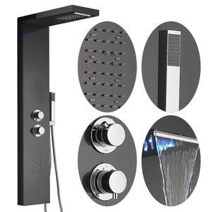 LED Duschpaneel Thermostat Duschsäule Edelstahl Wasserfall Regendusche dusche schwarz