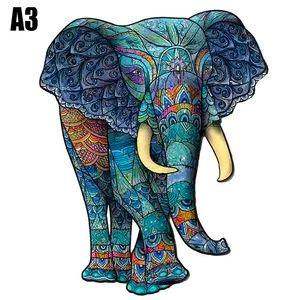 Tiere Holz Bunt Puzzle Jigsaw Lernspiele Erwachsene Kinder Geschenke Spielzeug Holzpuzzle A3 Elefant