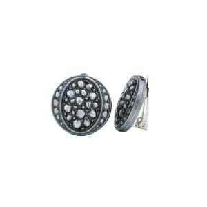 Clip Ohrring 22mm Scheibe Mosaik silbergrau Kunststoff-Bouton altsilber 22mm