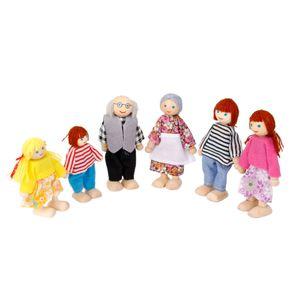 Mini Puppenfamilie Puppenhaus Familie 6 Holzbiegepuppen Satz Kinder Spielzeug ( 4*Erwachsene Puppen + 2 Kinder*Puppen)