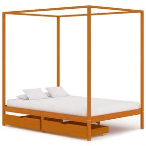 Modernem - Himmelbett-Gestell Bettgestell mit 2 Schubladen Massivholz Kiefer 140x200cm - Doppelbett Designbett Jugendbett