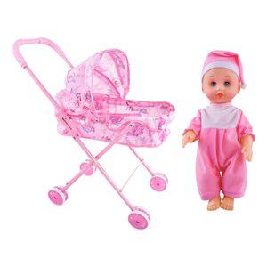 Babypuppe und Puppen Kinderwagen, Buggy, Puppenwagen Babypuppen Wagen Set EIN Mehrfarbig Kinderwagen Puppenwagen Kinder geben vor zu spielen
