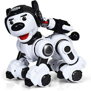 Ferngesteuerter Roboter, Intelligenter Spielzeughund für Kinder, Interaktiver & Programmierbarer Roboterhund, Roboterhund mit Tanz- & Musikfunktion (Schwarz+Weiss)