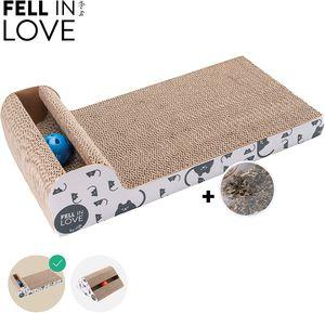 riijk Katzenspielzeug Klingelball Kratzbrett für Katzen mit Anti-Rutsch Bodenstopper und Katzenminze