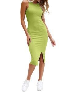 Einfarbiges Ärmelloses Midikleid Für Damen,Farbe: Grün,Größe:M