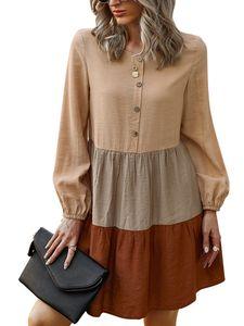 Lässiges Langarmkleid-Oberteil für Damen,Farbe: Orange,Größe:XL