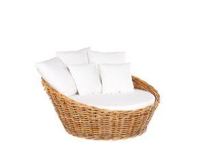Sonneninsel Hellbraun Rattan oval mit Kissen Weiß Polsterbezug abnehmbar Outdoor Terrasse Lounge Garten Möbel