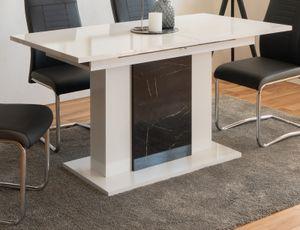 Esstisch Brügge in weiß Hochglanz und Marmor - Optik Küchentisch ausziehbar mit Einlegeplatte 140 - 180 x 80 cm