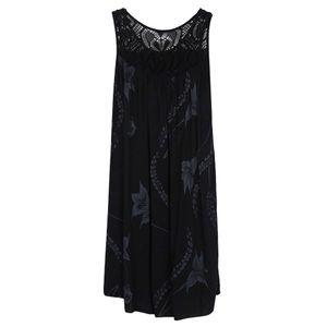 Damenmode Lace Stitching Print Ärmelloses Kleid Größe:XXXL,Farbe:Schwarz