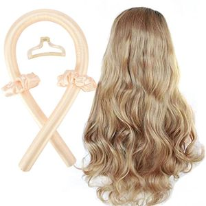 Gelb Heatless Curling Rod Stirnband, No Heat Curls Seidenband Hair Rollers Schlafen Soft Curls Silk Ribbon, tragbare Wave Formers Hair Lazy Curler Set
