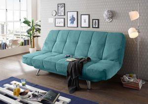 Allround Sofa Ikar Schlaffunktion Blau verstellbare Kopf & Armlehnen