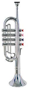 Bontempi Kinder Trompete silber Einsteigermodell Kunststoff 35cm farbige Tasten