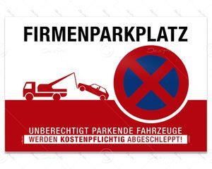 Despri Schild - Firmenparkplatz, Parkverbotsschild, Aluverbund, 3 mm, 30x20 cm, UV-Lack