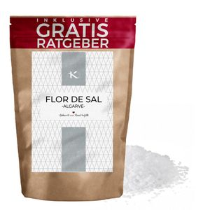 Flockensalz Flor de Sal 750g | Salz Flocken aus Portugal Fleur de Sel inkl. gratis Ratgeber | unbehandeltes Natursalz grobes naturbelassenes Meersalz