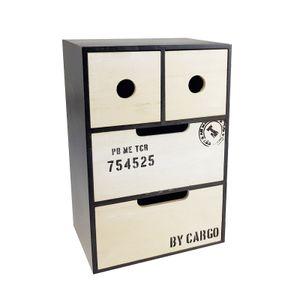 Mini Schrank - 20 x 30 x 15 cm (BxHxT), 4 Schubladen, Holz, Schwarz / Weiß, Shabby Chic