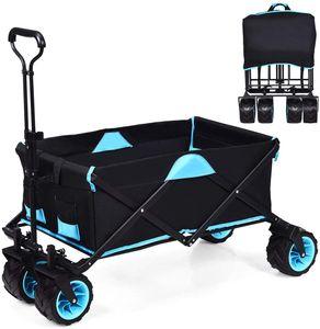 COSTWAY Bollerwagen mit Dach, Handwagen mit Abnehmbarer kühltasche, Transportwagen Rollwagen, Strandwagen 50kg Tragkraft, Gartenwagen Ideal zum Camping, Einkaufen